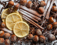 Set of spices, star anise, cinnamon and cloves Stock Images