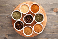 Set of spices top view Royalty Free Stock Image