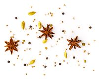 Set of spices on white background, top view. aromatic seasonings. With anise and cardamom Stock Photo
