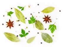 Set of spices on white background, top view. Seasonings for meat. Broth Stock Photo