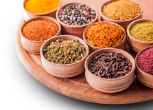 Set spices in a wooden bowl close-up Royalty Free Stock Photo