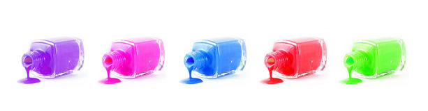 Set of  spilled nail polish Royalty Free Stock Images