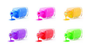 Set of  spilled nail polish Stock Images