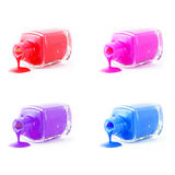 Set of  spilled nail polish Royalty Free Stock Photo