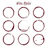 Set of spilled wine stains on white background, vector illustrat Stock Image
