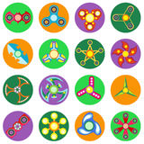 Set of 16 spinners of different shapes a flat style. Stock Photos