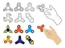 Set of spinners by lines and flat Royalty Free Stock Image