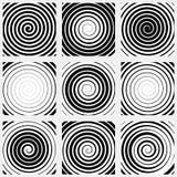 Set of 9 spiral elements. Swirls, swooshes. Stock Image