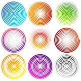 Set of 9 spiral elements. Swirls, swooshes. Stock Photo