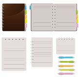 Set Of Spiral Notebooks. With Colored Tabs And Lined Pages, With Colorful Pens Royalty Free Stock Photos