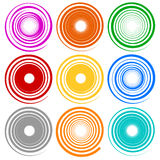 Set of spiral shapes with different contours Royalty Free Stock Photo