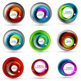 Set of spiral swirl flowing lines 3d vector abstract icon designs. Rotating concepts. Vector illustration Royalty Free Stock Photo