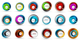 Set of spiral swirl flowing lines 3d vector abstract icon designs. Rotating concepts. Vector illustration Royalty Free Stock Photos