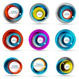 Set of spiral swirl flowing lines 3d vector abstract icon designs. Rotating concepts. Vector illustration Stock Images