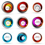 Set of spiral swirl flowing lines 3d vector abstract icon designs. Rotating concepts. Vector illustration Stock Photography