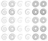 Set 30 spirala, helix kształtuje, koncentryczni, płodozmienni elementy, s royalty ilustracja