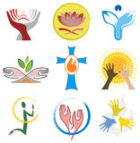 Set of Spirituality / Religion Icons. Including Hands, Angel, Cross and Lotus Flower Royalty Free Stock Images