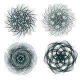 Set of spirograph elements. Collection of abstract shapes for design. Vector illustration Royalty Free Stock Image
