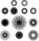 Set of spirograph symbols. Black outline flowers, stars and snowflakes Stock Image