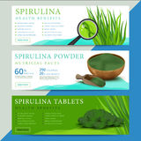 Set of spirulina algae information website or social media banner. S. Arthrospira seaweed dietary supplement background templates. Superfood vector illustration Stock Photos