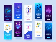 Set of splash screen mockups for virtual or augmented reality co. Ncept stock illustration