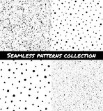 Set of splash, spray, specks, dots seamless patterns Royalty Free Stock Photo
