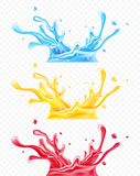 Set of splashes water and juices royalty free illustration