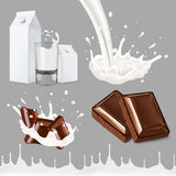 Set of splashing and pouring milk, on gray background all objects  and can be edited separately Stock Photography