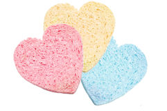 Set of sponge bath heart-shaped Royalty Free Stock Photo