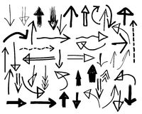 Set of spontaneously hand-drawn vector arrows (Vector) Royalty Free Stock Photo