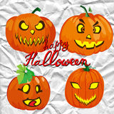 Set of spooky halloween jack o lanterns Stock Images