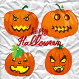 Set of spooky halloween jack o lanterns Royalty Free Stock Image