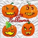 Set of spooky halloween jack o lanterns Royalty Free Stock Image