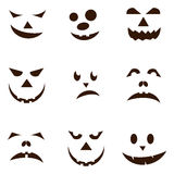 Set of spooky halloween jack o lanterns. Royalty Free Stock Images
