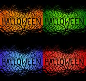 Set of spooky inscriptions Halloween with branches on a multicolored background. Stock Photos
