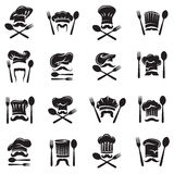 Set of spoon, fork and chef Royalty Free Stock Photos