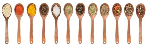 Set of spoons with different spices Stock Images