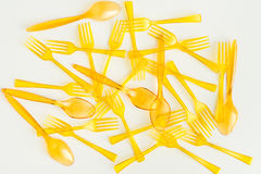 Set of spoons and forks isolated on white Royalty Free Stock Photo