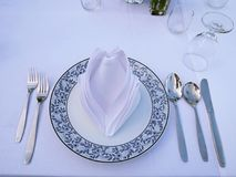 Set of spoons, knif, dish, grass, napkin and forks. The dinner table for customer. There are spoons, folks, white napkin and grass on the white table Royalty Free Stock Photo