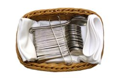Set of spoons tea and coffee in basket isolated Royalty Free Stock Image