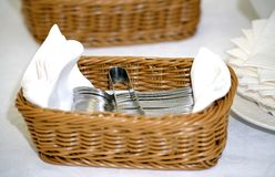Set of spoons tea and coffee in basket Royalty Free Stock Photography