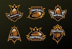 Set sportów logowie, gry w futbolu amerykańskim Obraz Stock
