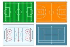Set sportów place zabaw Piłki nożnej boisko piłkarskie, tenis i boisko do koszykówki, lodowego hokeja lodowisko postać z kreskówk Fotografia Stock