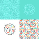 Set with sport backgrounds patterns and logos Royalty Free Stock Images