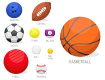 Set of sport balls collection tournament win round basket soccer equipment. Set of sport balls isolated vector illustration. Collection tournament win round Stock Photos