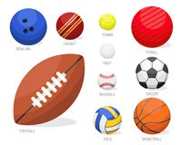 Set of sport balls collection tournament win round basket soccer equipment. Set of sport balls isolated vector illustration. Collection tournament win round Royalty Free Stock Photography