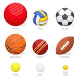 Set of sport balls collection tournament win round basket soccer equipment vector illustration. Set of sport balls isolated vector illustration. Collection Royalty Free Stock Photo