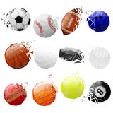 Set of sport balls crashed. EPS 8 Stock Photos