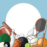 Set sport balls equipment icon Royalty Free Stock Images
