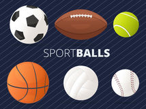 Set of sport balls with football, basketball, tennis, volleyball Stock Photos